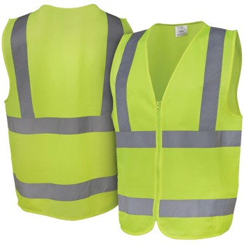 Fluorescent Yellow Safety Vest with Reflective Strips & Zip Front - Large