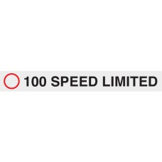 100 Speed Limited 680 x 80mm Class 2 Reflective Sign - Long Life Sticker