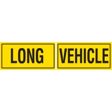 LONG VEHICLE 2 Piece 600 x 300mm Class 2 Reflective Sign - Aluminium Plate
