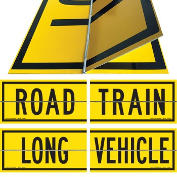 ROAD TRAIN / LONG VEHICLE Hinged 2 Piece 600 x 300mm Class 2 Reflective Sign - Aluminium Plate
