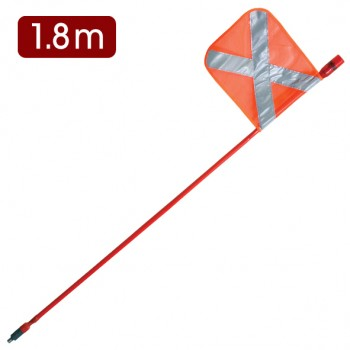 LED Mining Whip with top mounted Red LED - 1.8m