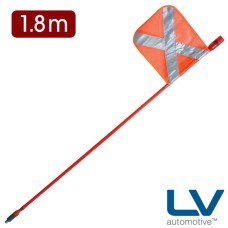 LV LED Mining Whip with top mounted Red LED - 1.8m