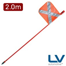 LV LED Mining Whip with top mounted Red LED - 2m