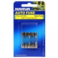 Narva 3AG Glass Fuse, 5 Pack - 10 AMP