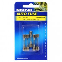 Narva 3AG Glass Fuse, 5 Pack - 15 AMP
