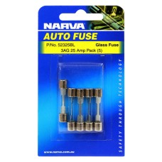 Narva 3AG Glass Fuse, 5 Pack - 25 AMP