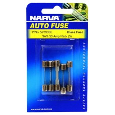 Narva 3AG Glass Fuse, 5 Pack - 30 AMP