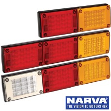 Narva Model 48 LED Rear Direction Lamps with In-Built Reflectors, Black Housing & Security Caps