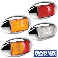 Narva Model 14 / LED Marker Lamp With Oval Chrome Deflector Base & 0.5m Cable