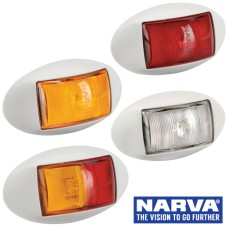 Narva Model 14 / LED Marker Lamp With Oval White Deflector Base & 0.5m Cable