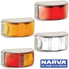 Narva Model 16 / LED Marker Lamps With White Deflector Base & 0.5m Cable