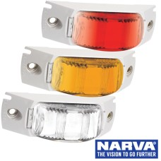 Narva Model 16 / LED Marker Lamps with White Header Mount Base & 0.5m Cable