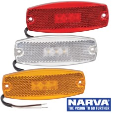 Narva Model 17 LED Marker Lamps with In-Built Retro Reflector & 0.5m Cable - 115 x 44mm