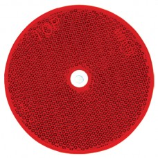 Round Retro Reflector Screw On 80mm - Red
