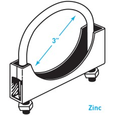 """Exhaust Round Band Clamp, Zinc - 3"""""""