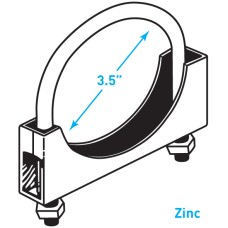 """Exhaust Round Band Clamp, Zinc - 3.5"""""""