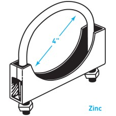 """Exhaust Round Band Clamp, Zinc - 4"""""""