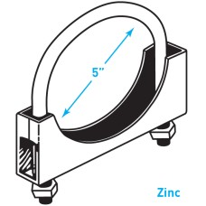 """Exhaust Round Band Clamp, Zinc - 5"""""""