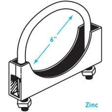 """Exhaust Round Band Clamp, Zinc - 6"""""""