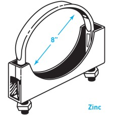 "Exhaust Flat Band Clamp, Zinc - 8"""