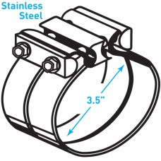 """Exhaust Torctite Lap Clamp, Stainless Steel - 3.5"""""""