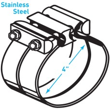 """Exhaust Torctite Lap Clamp, Stainless Steel - 4"""""""