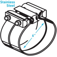"""Exhaust Torctite Lap Clamp, Stainless Steel - 6"""""""