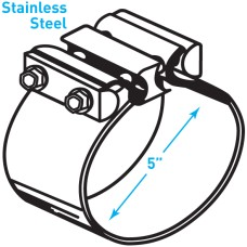 """Exhaust Torctite Butt Clamp, Stainless Steel - 5"""""""