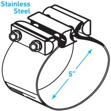 "Exhaust Torctite Easyseal Clamp, Stainless Steel - 5"""