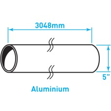 "Air Intake Aluminium Tube, Straight - 5"" x 120"""