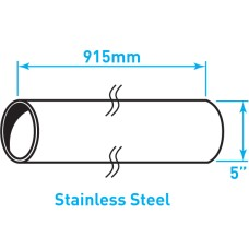 "Air Intake Stainless Steel Tube, Straight, Plain End - 5"" x 36"""
