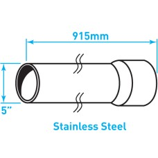 "Air Intake Stainless Steel Tube, Straight, Expanded End - 5"" x 36"""