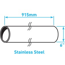 "Air Intake Stainless Steel Tube, Straight, Plain End - 6"" x 36"""