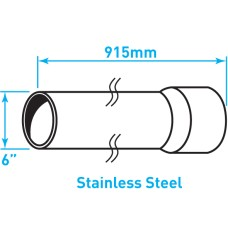 "Air Intake Stainless Steel Tube, Straight, Expanded End - 6"" x 36"""