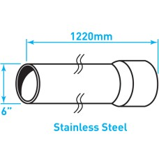 "Air Intake Stainless Steel Tube, Straight, Expanded End - 6"" x 48"""