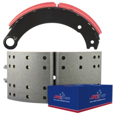"FRAS-LE AF557 Lined Brake Shoe  - Fruehauf shoes ""P"" type with eye washers - 16.5"" x 7"". Comes with Hardware"