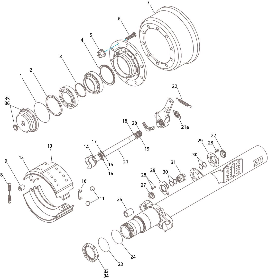 Meritor Steer Axle Parts Catalog : Saf sk rs  axles mm brake